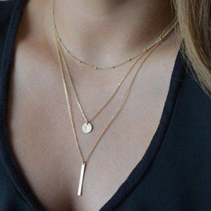 3/$20 New Triple Layer Gold Necklace